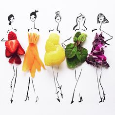 Fashion illustrations by Gretchen Röehrs utilize colorful food items for a finishing touch. #illustration #food #foodart #fashion