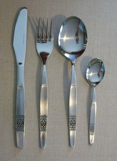 Vintage Norwegian Flatware 4 Piece Place Setting ENOR Rustfri Heart Design  #rustfri