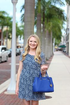 Stephanie Kamp Blog: Navy Printed Baby Doll Dress