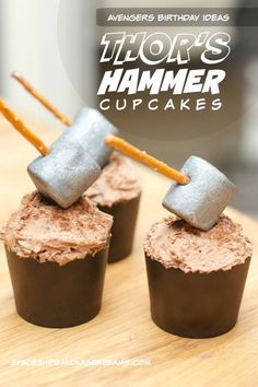 Kid's Party Food: Thor's Hammer Cupcakes - These cupcakes are awesome! So fun for any Avenger Lover! #SendSmiles - Spaceships and Laser Beams