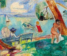 lawrenceleemagnuson:  Hans Purrmann (Germany 1880-1966Badeszene am Bodensee - Lake Constance Bathing Scene (1956)oil on canvas 54 x 65 cm