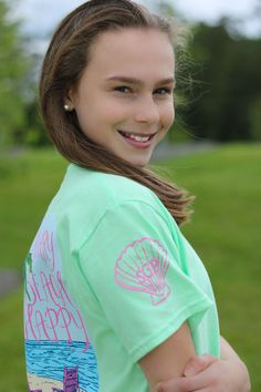 Southern Girl Prep | Don't Worry Beach Happy t-shirt | color mint | youth and adult sizes | short and long sleeve | preppy style the southern way
