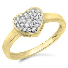 0.20 Carat (ctw) 10K Gold Round Diamond Ladies Bridal Heart Engagement Promise Ring 1/5 CT * Startling review available here  : Promise Rings