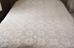 French vintage handmade crochet bedspread by LaBourgognedeNath