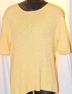 LANDS' END Yellow Short Sleeve Shirt Cotton Knit Top Size L 14 16 #LandsEnd #KnitTop #Casual