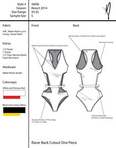 This is a tech pack for a collection of six swimsuits. Construction details are highlighted and zoom views are included of important features of the design.