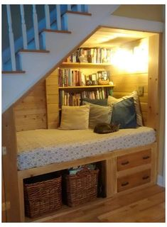 Under Stairs Nook, Kitchen Under Stairs, Under Staircase Ideas, Under Stairs Playhouse, Under Basement Stairs, Living Room Under Stairs, Basement Staircase, Open Stairs, Basement Ceilings