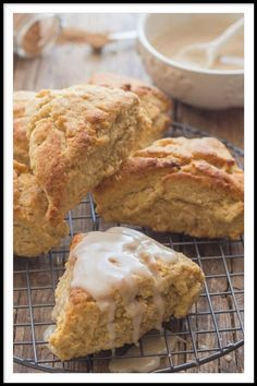 Maple Glazed Brown Sugar Cinnamon Scones an easy delicious recipe. These tasty soft scones are better than anything bought. The perfect Breakfast treat, serve with a tasty Real Maple Glaze. Pastry Recipes, Baking Recipes, Dessert Recipes, Desserts, Cinnamon Recipes, Scone Recipes, Bread Recipes, Homemade Gravy For Biscuits, Homemade Scones