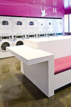 Avonite Solid Surface: University Laundromat Seating And  Countertop Foundations Recycled White