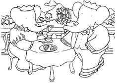 Babar Dinner Coloring Page