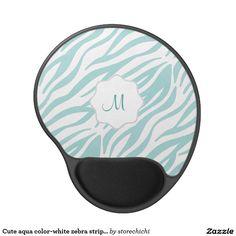 Cute aqua color-white zebra striped, personalized