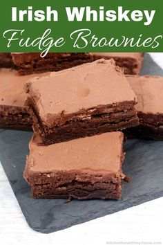 The perfect St. Patrick's Day dessert, Irish Whiskey Brownies. Rich, creamy and delicious, these fudge brownies are topped with an amazing Irish Whiskey frosting. Jameson Irish Whiskey, Whiskey Sour, Whiskey Cake, Scotch Whiskey, Brownie Toppings, Brownie Bar, Brownie Recipes, Chocolate Recipes, Whiskey Recipes
