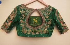 Stunning green color designer blouse with floret lata design hand embroidery thread work. Pattu Saree Blouse Designs, Blouse Designs Silk, Bridal Blouse Designs, Simple Blouse Designs, Sumo, Sarees, Thread Work, Embroidery Thread, Clothes