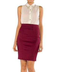 skirt + button up + collar details.