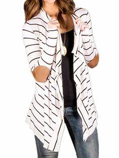 Persun Women White Stripes Long Sleeve PU Elbow Water Fall Cardigan Jacket,White,Medium