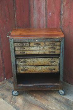 Vintage Kitchen Cart Bar Cart Kitchen Island Repurposed Industrial Storage