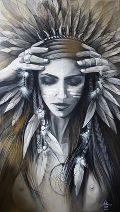 A découvrir au 8ème Salon de Peinture toutes techniques en ligne sur www.myrankart.com  Chamane Indienne by Marlène Bigoni