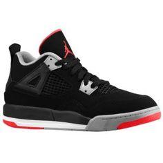 Jordan Retro 4 - Boys' Preschool - Basketball - Shoes - Black/Cement Grey/Fire Red