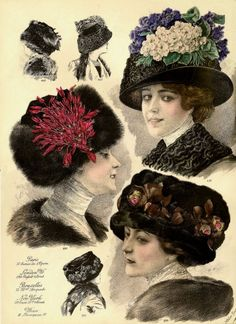 1911 Paris Millinery Fashion Plate Featuring Ladies Hats from La Belle Epoque Victorian Hats, Edwardian Era, Edwardian Fashion, Vintage Fashion, 1930s Fashion, Parisienne Chic, La Belle Epoque Paris, Retro Mode, 20th Century Fashion