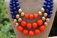 Peach Roots - Libby Blue and Orange Game Day Necklace, $27.00 (http://peachroots.com/libby-blue-and-orange-game-day-necklace/)
