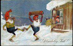 Julekort  Otto Moe Dansende nisser Utg Küenholdt  postgått 1922