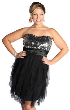 plus size strapless sequin party dress