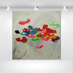 Huge Abstract Painting acrylic Painting 48 x 48 Original Colorful modern Poppies flower painting Painting Wall Art