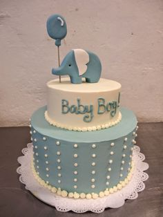 2 Tier Baby Shower Cake For Boy. 3 Tier Circus Theme Baby Shower Cake With Elephant On Top JPG. Baby Shower Sheet Cakes, Torta Baby Shower, Elephant Baby Shower Cake, Elephant Cakes, Baby Shower Cakes For Boys, Baby Boy Shower, Cute Baby Shower Ideas, Simple Baby Shower, Baby Cakes