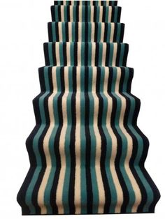 Bright, colourful to liven up your home! Carpet Runner, Rug Runner, Stair Rugs, Carpet Stairs, Blue Cream, Stripes, Bright, Fabric, Prints