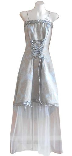 VINTAGE HARAH DESIGNS  COUTURE BLUE GOLD BAROQUE RRP $380TULLE  DRESS 6/8