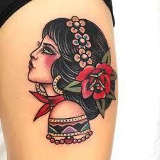 Traditional Tattoo Portrait, Traditional Tattoo Girls, Traditional Tattoo Flowers, Head Tattoos, Rose Tattoos, Body Art Tattoos, Sleeve Tattoos, Tatoos, Old School Tattoo Motive