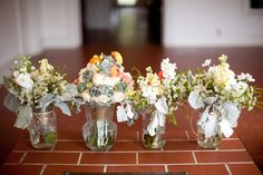 pastel flowers and greenery come together for rustic or vintage style bouquets or any style for any wedding - thereddirtbride.com - see more of this wedding here Vintage Style, Vintage Fashion, Pastel Flowers, Wedding Bouquets, Greenery, Rustic Wedding, Glass Vase, Table Decorations, Ideas