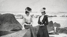 Fashionable beachwear, c1900, as modelled by Kate and Jessie Thomson at #Tweed Heads. The image is part of the exhibition Holidays and Hokey Pokey at the Tweed Regional Museum.