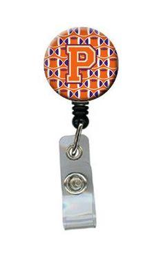 Letter P Football Orange, White and Regalia Retractable Badge Reel CJ1072-PBR