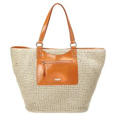 """Large double handle straw tote with front zip pocket. Inside features one side zip pocket and a removable cosmetic case. Measures approx 19"""" L x 12"""" H x 6"""" D, handle drop of 8 1/2""""."""