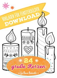 candles - Motif template: 24 large candles Format: 24 different, patterned candles on 16 pages The candles - Marker, Motivational Memes, Crafts For Kids, Arts And Crafts, Large Candles, Making Greeting Cards, Window Art, Kids Playing