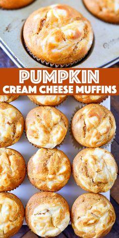 Pumpkin Cream Cheese Muffins - moist pumpkin muffins loaded with pumpkin spice and a rich swirl of cream cheese. These muffins are so perfect for fall! Pumpkin Cream Cheese Muffins, Pumpkin Cream Cheeses, Pumpkin Spice Muffins, Pumpkin Cheesecake Muffins, Cheese Pumpkin, Pumpkin Pies, Cheesecake Desserts, Pumpkin Cookies, Fall Desserts