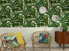 Papier peint jungle Boho Inspiration, Interior Design Inspiration, Décoration Urban Jungle, Versace Wallpaper, Deco Jungle, Palm Beach Regency, Versace Home, Style Deco, Tree Wallpaper