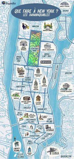 Not sure where to start on your trip to New York? Discover our map of the main places of interest in New York to see! Voyage Usa, Voyage New York, Travel Maps, Travel Usa, Travel Europe, Nyc, Guide New York, Skyline Von New York, Flight And Hotel