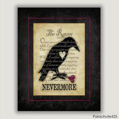 NEVERMORE, The Raven, Edgar Allan Poe poetry, literature print, Halloween art, goth art, macabre art