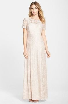 Alex Evenings Embroidered Mesh A-Line Gown (Regular & Petite) available at #Nordstrom