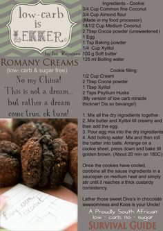 These cookies are iconic! Just the name makes many a South African smile! So here we are, doing low - carb Romany creams the low - carb is lekker way! While you bake these, the smell of chocolate baking might cause havoc in your neighborhood hey! Banting Desserts, Banting Recipes, Low Carb Recipes, Healthy Recipes, Kos, Sweet Recipes, Real Food Recipes, Banting Diet, Low Carb Deserts