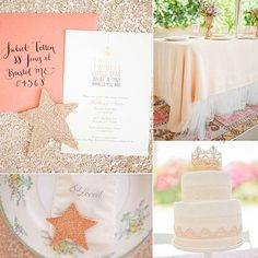 I love the table fabric together and I think the cake is classic, elegant - just thoughts... An Old-World Glam, Sparkling Baby Shower. So cute for a girl! | 25 Unique Baby Shower Ideas