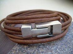 Leather Bracelet, Unisex,  Double Strand Triple Wrap, Light Antique Brown, Industrial Magnetic Clasp. via Etsy.