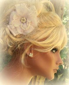 Bridal Fascinator Lace French Net Pearls  Elegant by kathyjohnson3, $48.00