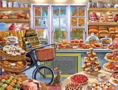 In the 1000 piece jigsaw puzzle, The Bakery by White Mountain, a bright bakery full of bread and cakes is illustrated. This puzzle is a great afternoon activity—especially if paired with something from the bakery. Gooey Cake, Puzzle Art, 5d Diamond Painting, Decoupage, Cake Shop, Freshly Baked, 1000 Piece Jigsaw Puzzles, Vintage Shops, Job 1