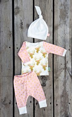 Glam Deer Coming Home Outfit, Pink and Glitter Gold, Leggings, Shirt, & Matching Knot Hat, Size Newborn, Larger Sizes Available Upon Request by brambleandbough on Etsy