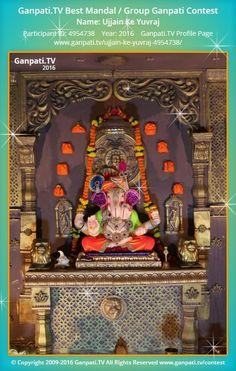 Ujjain Ke Yuvraj Home Ganpati 2016 Decoration Pictures, Decorating With Pictures, Ganpati Picture, Ganpati Decoration Design, Ganpati Festival, Ganesha Pictures, Radha Krishna Images, Lord Ganesha, Festival Decorations