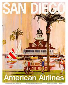San Diego - California - American Airlines - Vintage Airline Travel Poster by V. - Fine Art Print - x Retro Poster, Poster S, Poster Prints, Tourism Poster, Retro Airline, Airline Travel, Vintage Airline, Airline Tickets, Air Travel
