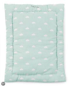 CHILD WOOD - Playpen mattress 75X95 cm Snoozy Clouds - Blue Mint